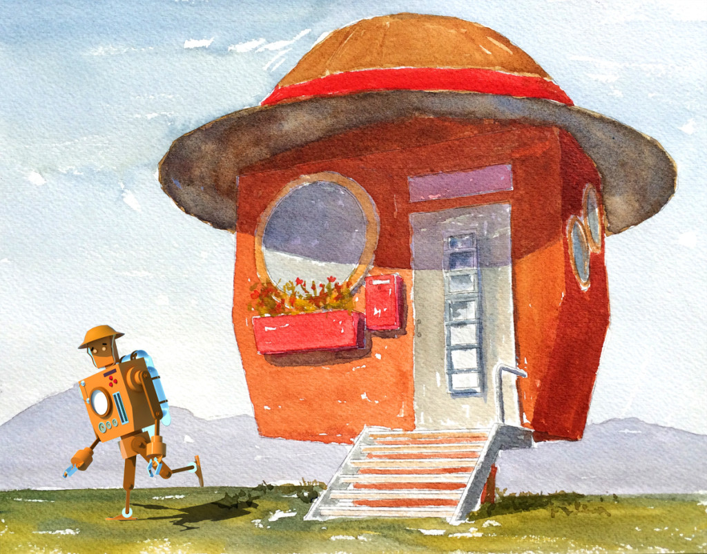 Robot with watercolour house copy
